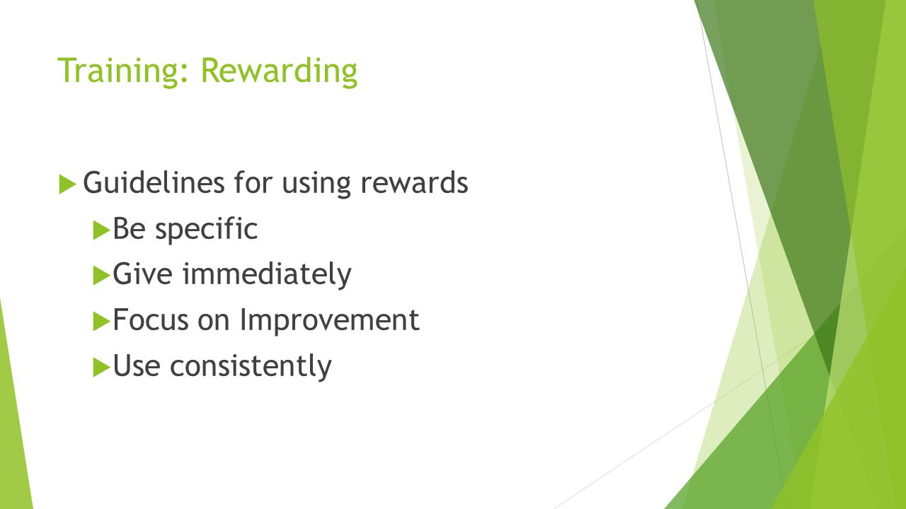 Training: Rewarding Guidelines for using rewards Be specific