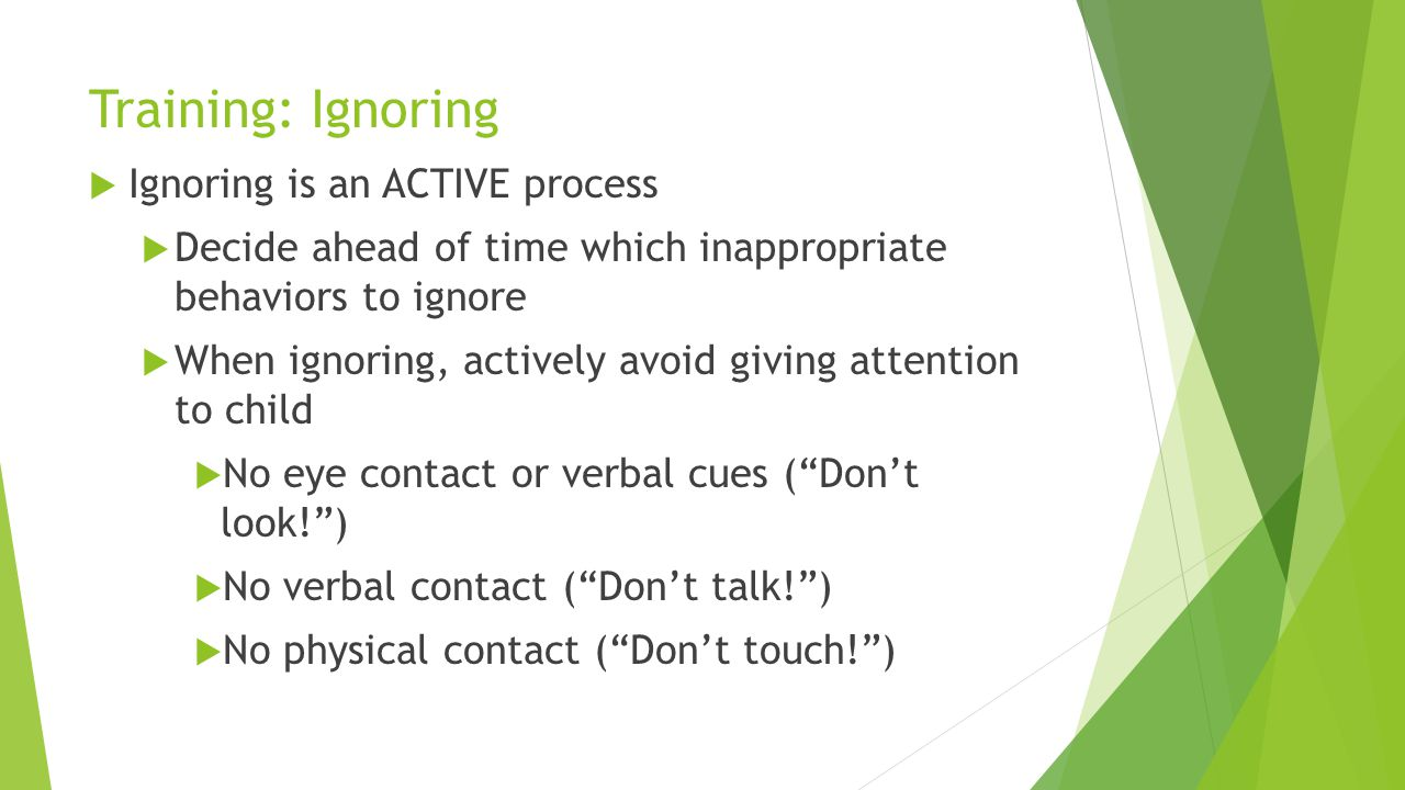 Training: Ignoring Ignoring is an ACTIVE process