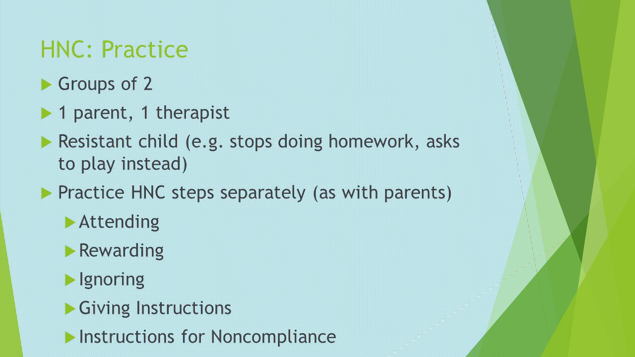 HNC: Practice Groups of 2 1 parent, 1 therapist