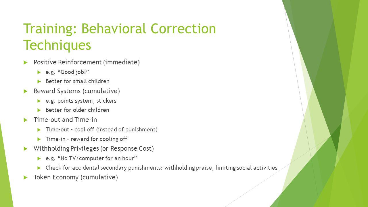 Training: Behavioral Correction Techniques