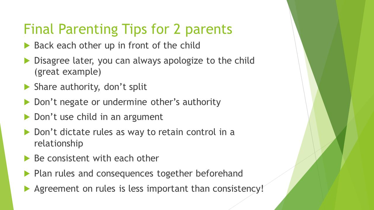 Final Parenting Tips for 2 parents