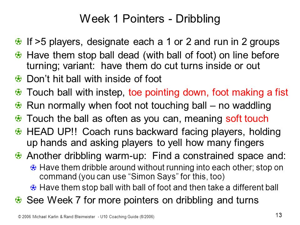 Week 1 Pointers - Dribbling