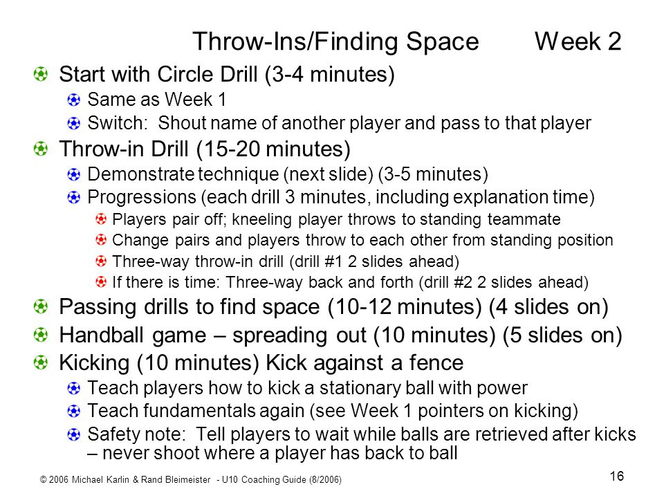 Throw-Ins/Finding Space Week 2