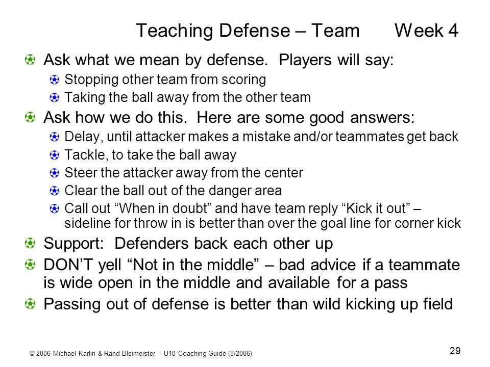 Teaching Defense – Team Week 4
