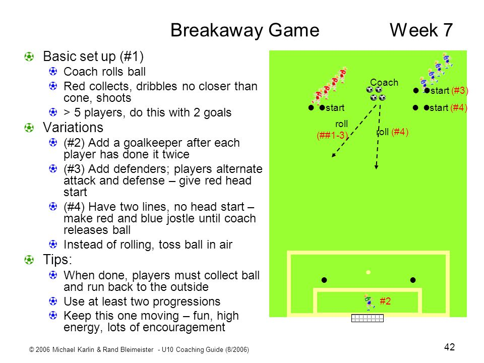 Breakaway Game Week 7 Basic set up (#1) Variations Tips: