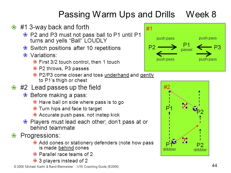 Passing Warm Ups and Drills Week 8