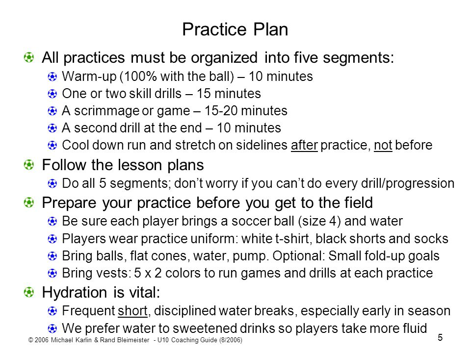 Practice Plan All practices must be organized into five segments: