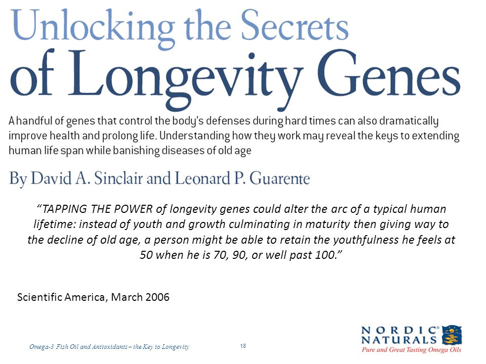 TAPPING THE POWER of longevity genes could alter the arc of a typical human lifetime: instead of youth and growth culminating in maturity then giving way to the decline of old age, a person might be able to retain the youthfulness he feels at 50 when he is 70, 90, or well past 100.