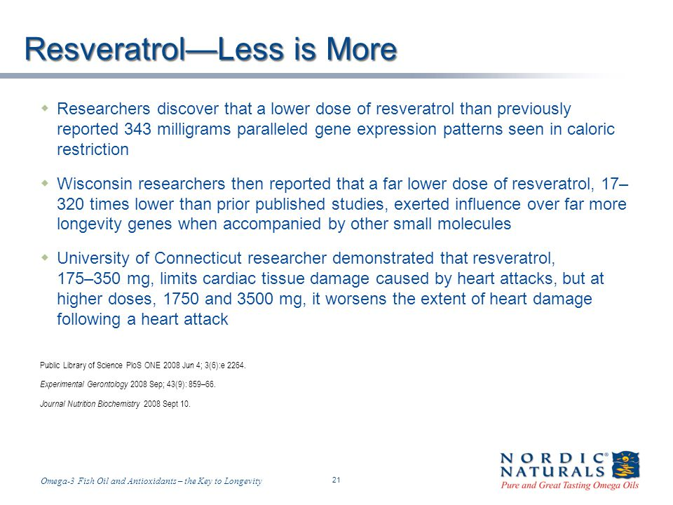 Resveratrol—Less is More