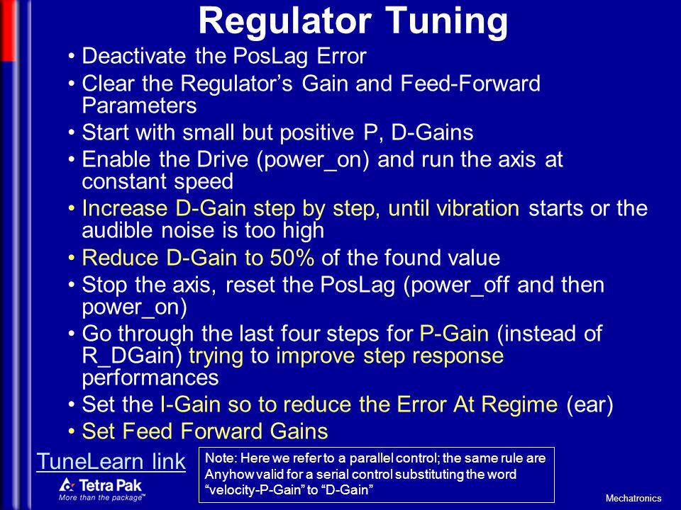 Regulator Tuning Deactivate the PosLag Error