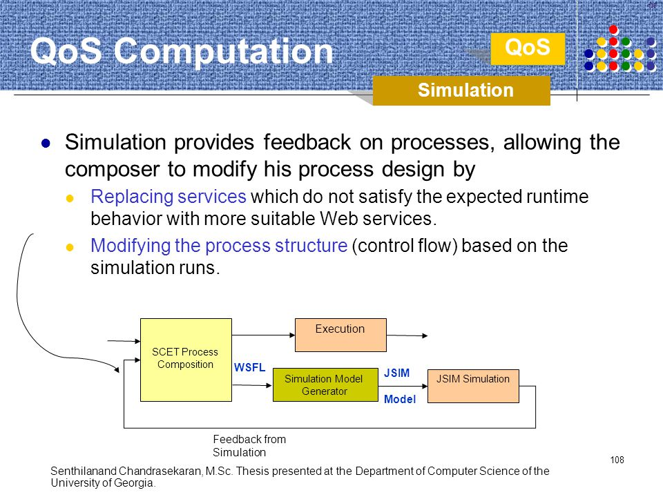 QoS Computation QoS. Simulation. Simulation provides feedback on processes, allowing the composer to modify his process design by.