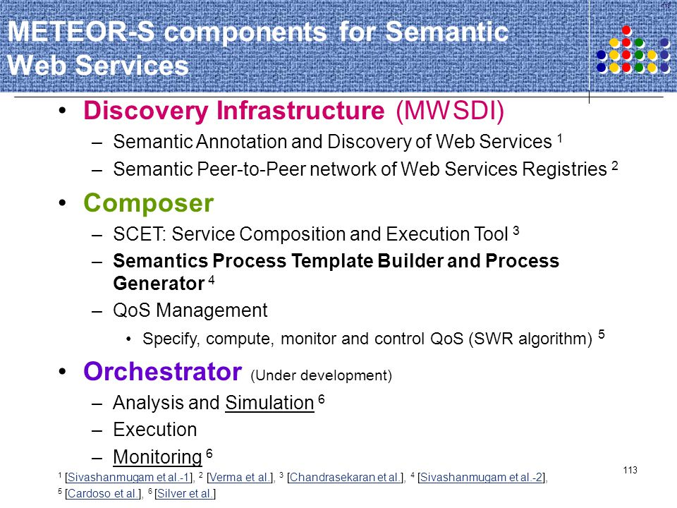METEOR-S components for Semantic Web Services