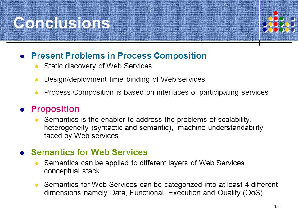 Conclusions Present Problems in Process Composition Proposition