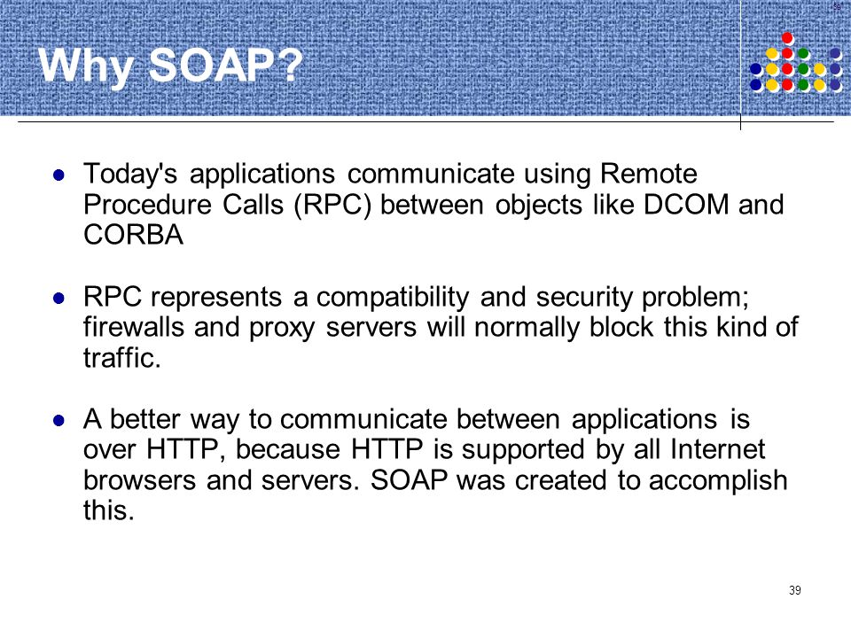 Why SOAP Today s applications communicate using Remote Procedure Calls (RPC) between objects like DCOM and CORBA.