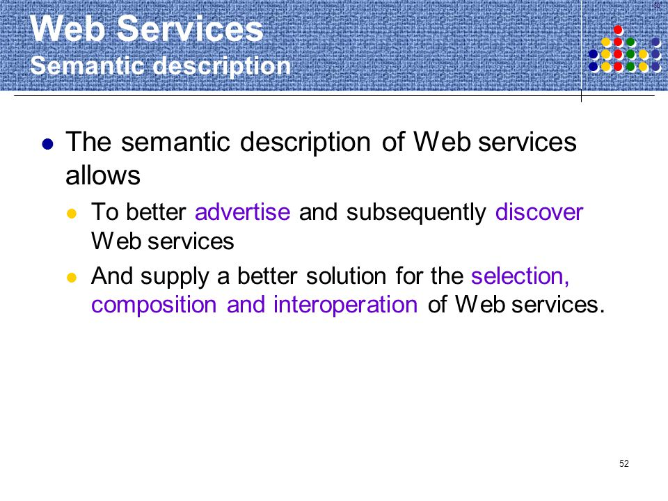 Web Services Semantic description