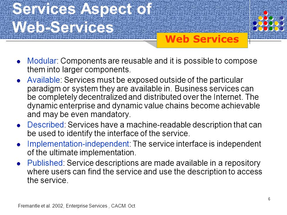 Services Aspect of Web-Services