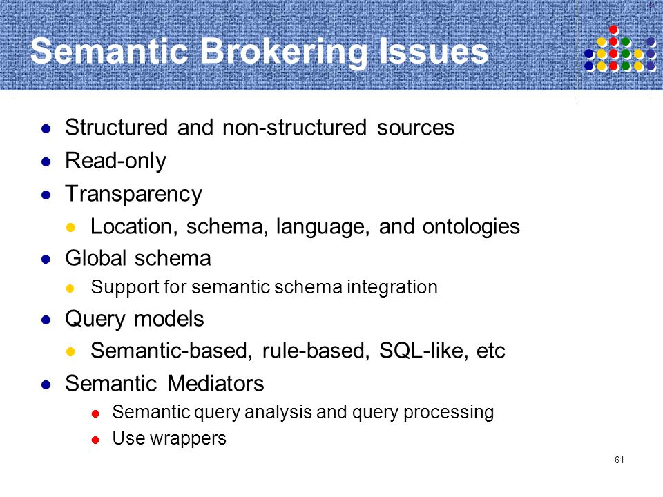 Semantic Brokering Issues