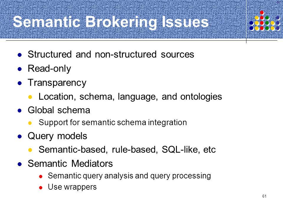 Semantic Brokering Issues