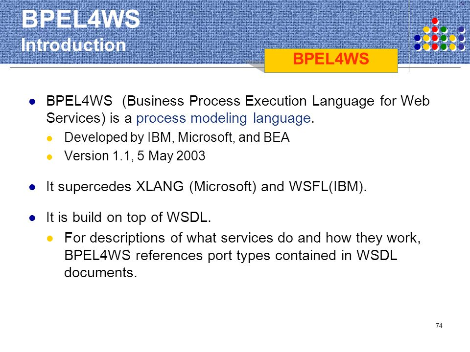 BPEL4WS Introduction BPEL4WS