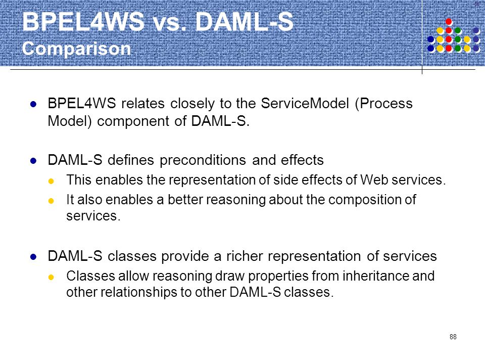 BPEL4WS vs. DAML-S Comparison