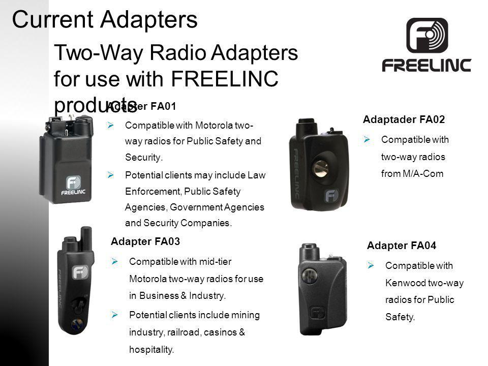 Current Adapters Two-Way Radio Adapters for use with FREELINC products