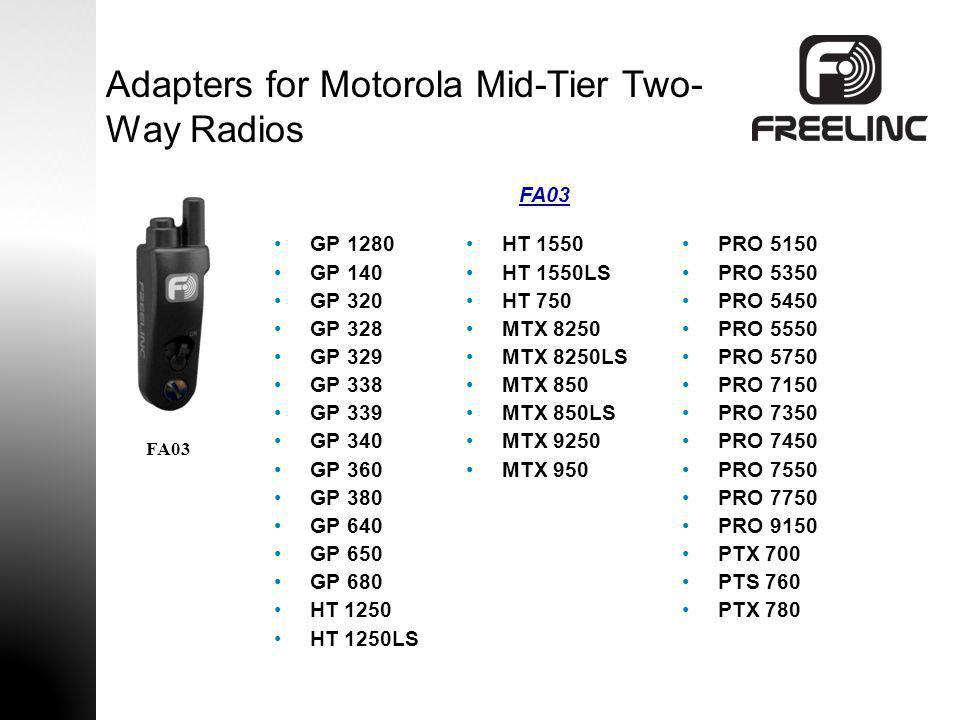 Adapters for Motorola Mid-Tier Two-Way Radios
