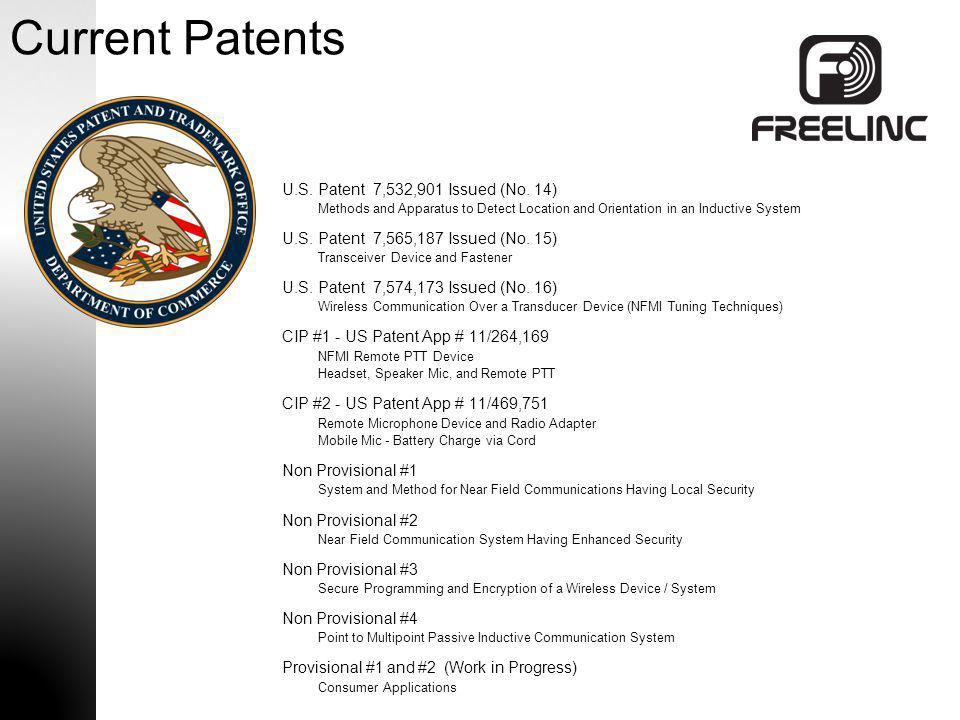 Current Patents U.S. Patent 7,532,901 Issued (No. 14)