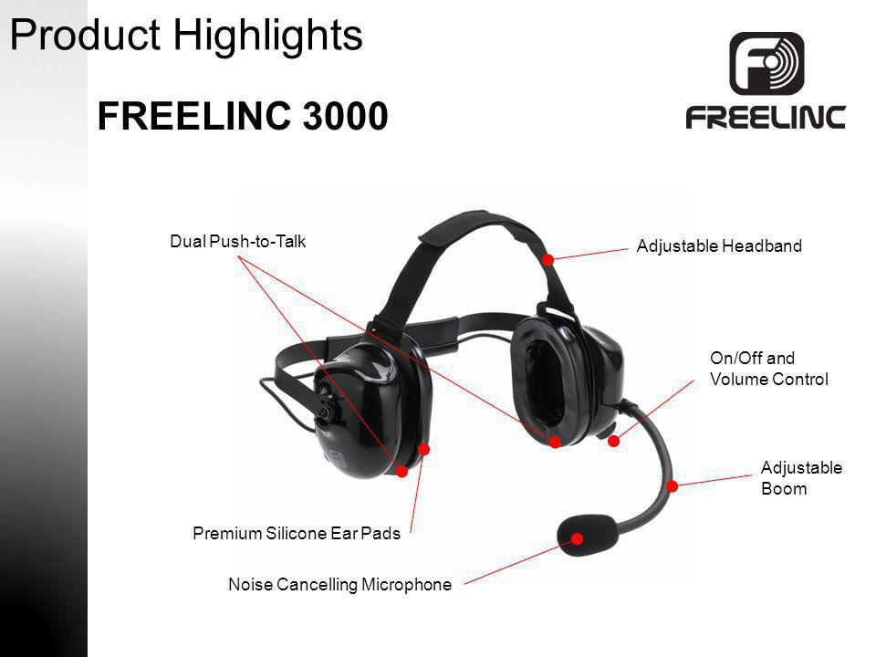 Product Highlights FREELINC 3000 Dual Push-to-Talk Adjustable Headband
