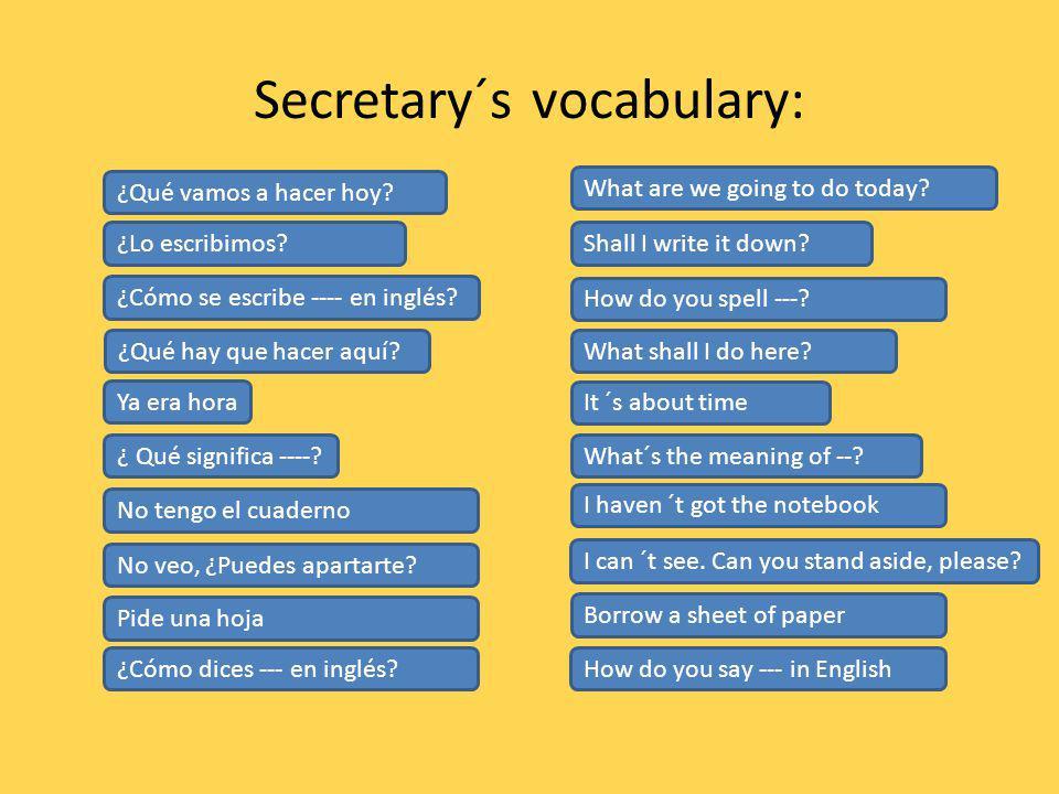 Secretary´s vocabulary:
