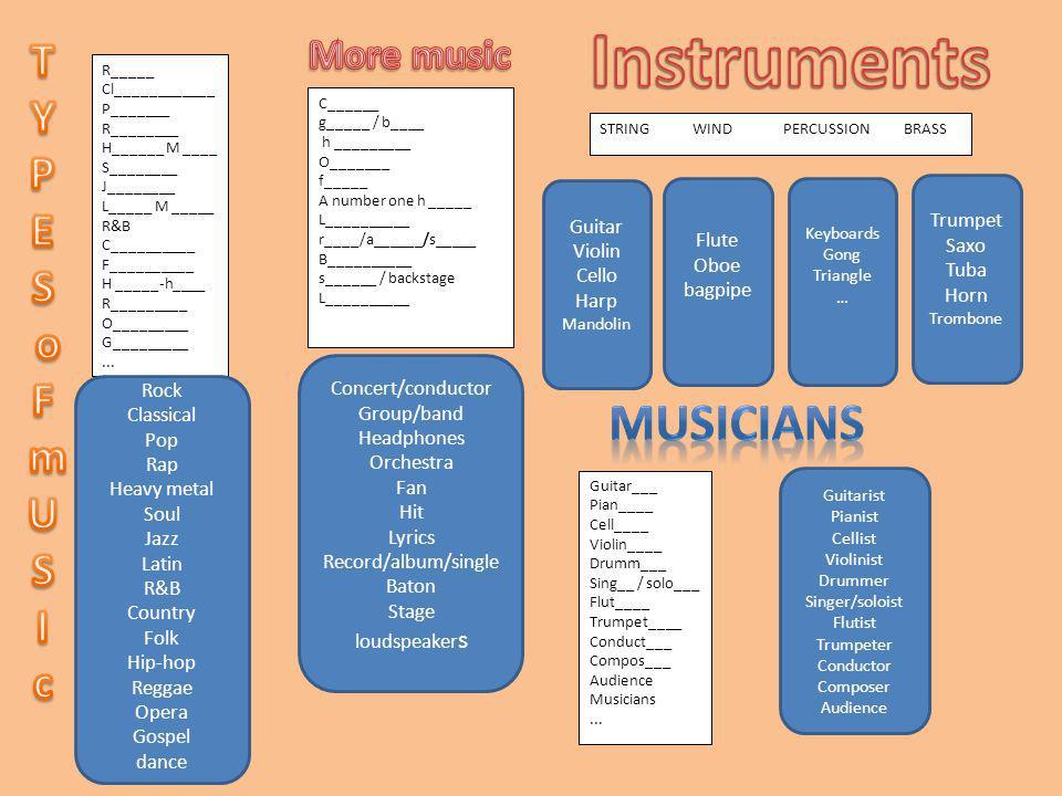 Instruments musicians T Y P E S o F m U I c More music Trumpet Guitar