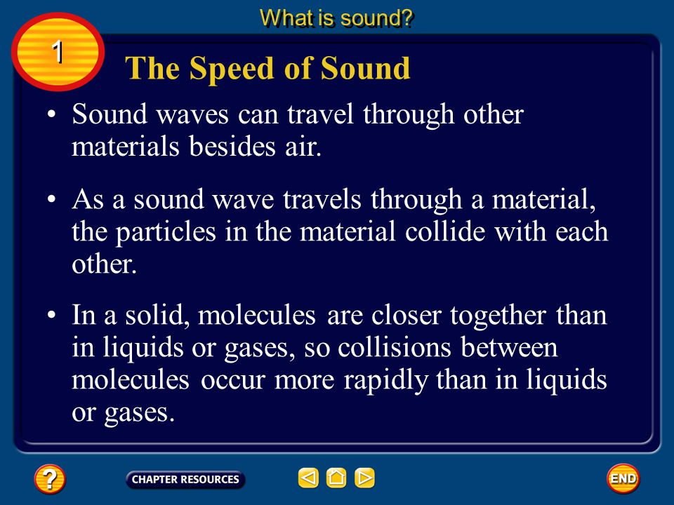 What is sound 1. The Speed of Sound. Sound waves can travel through other materials besides air.