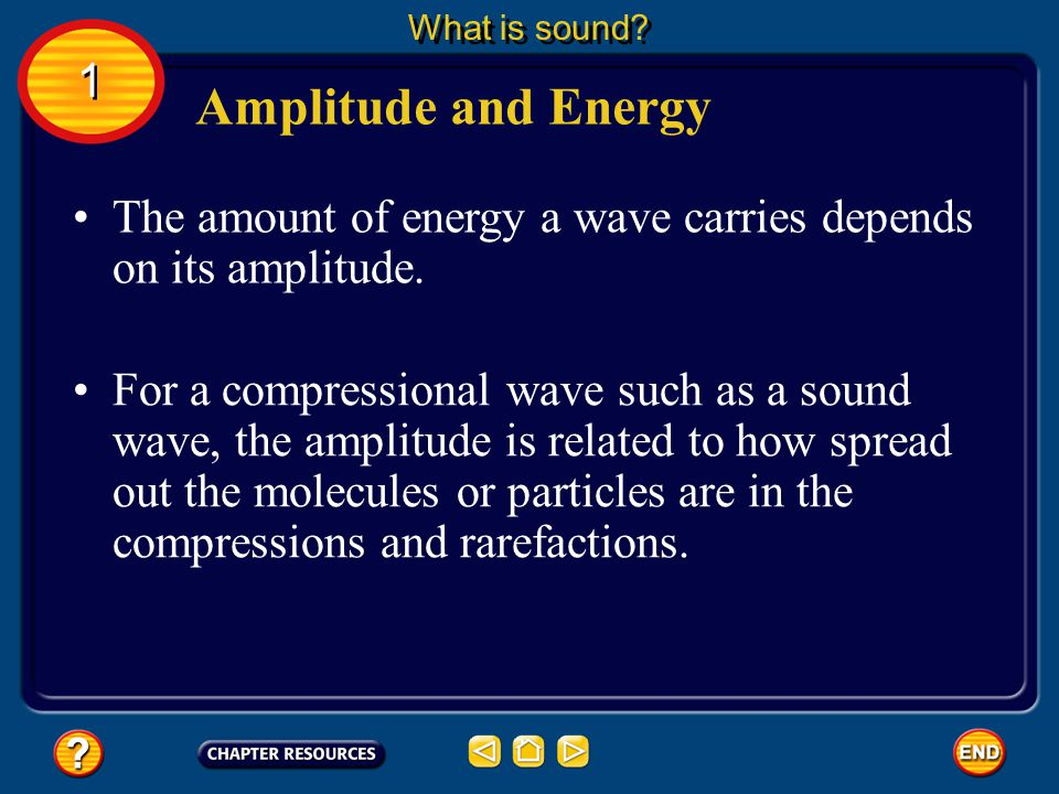 What is sound 1. Amplitude and Energy. The amount of energy a wave carries depends on its amplitude.