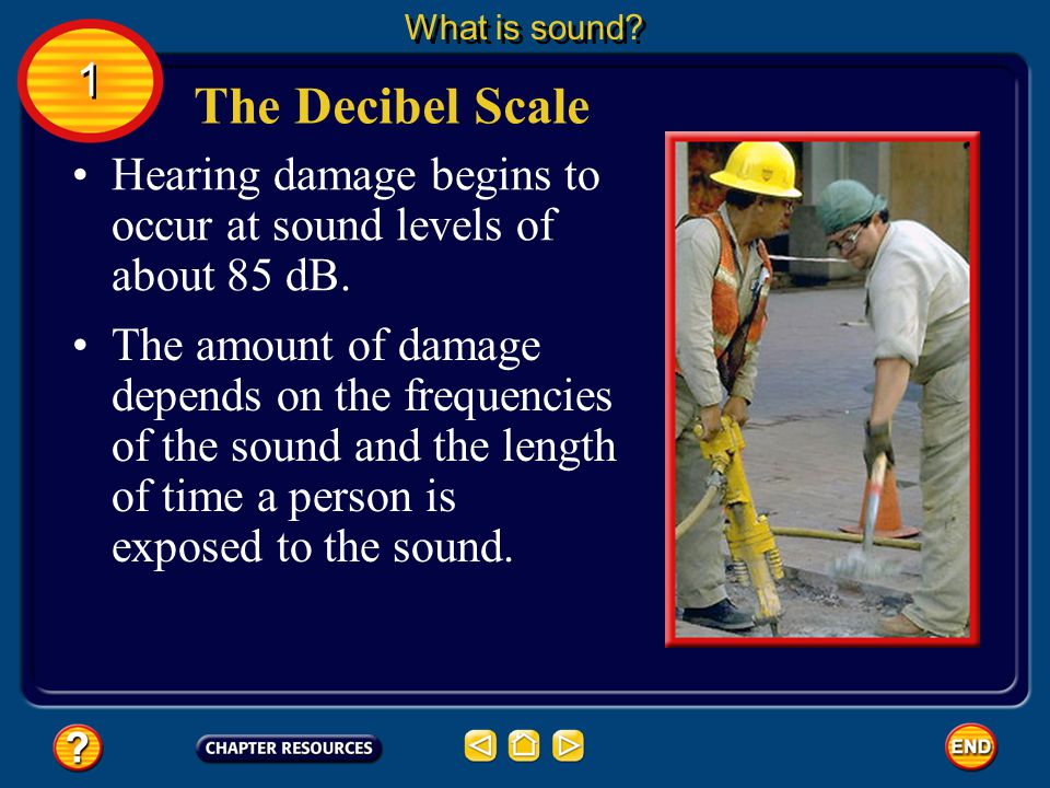 What is sound 1. The Decibel Scale. Hearing damage begins to occur at sound levels of about 85 dB.