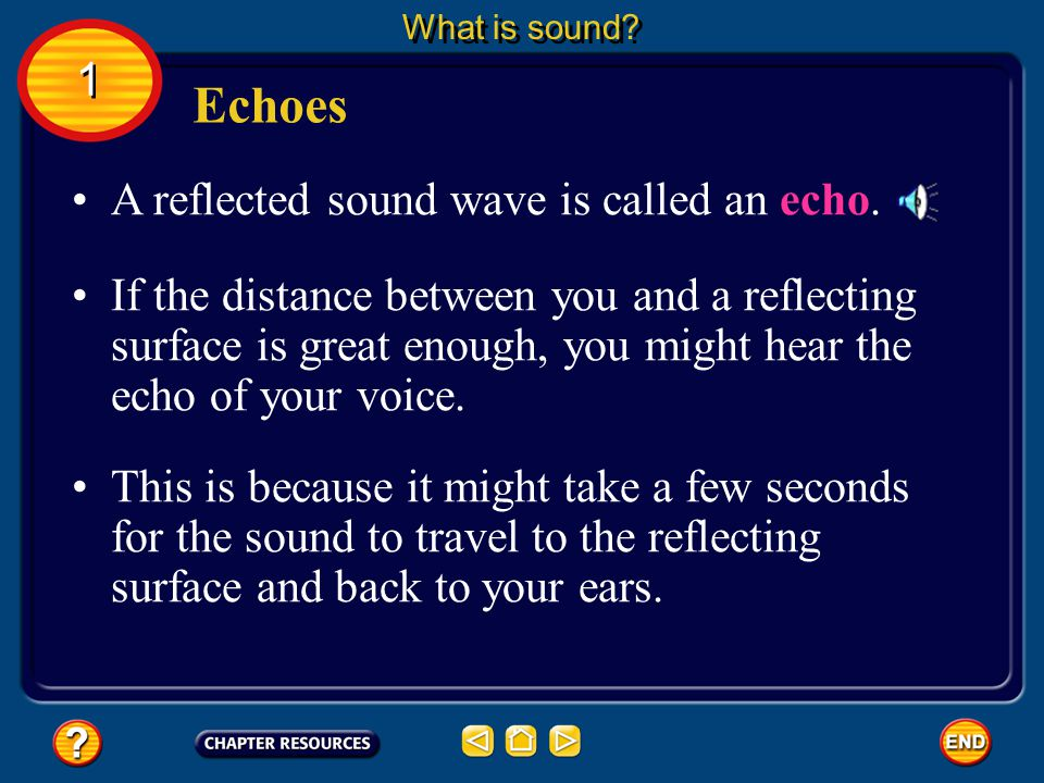 Echoes 1 A reflected sound wave is called an echo.