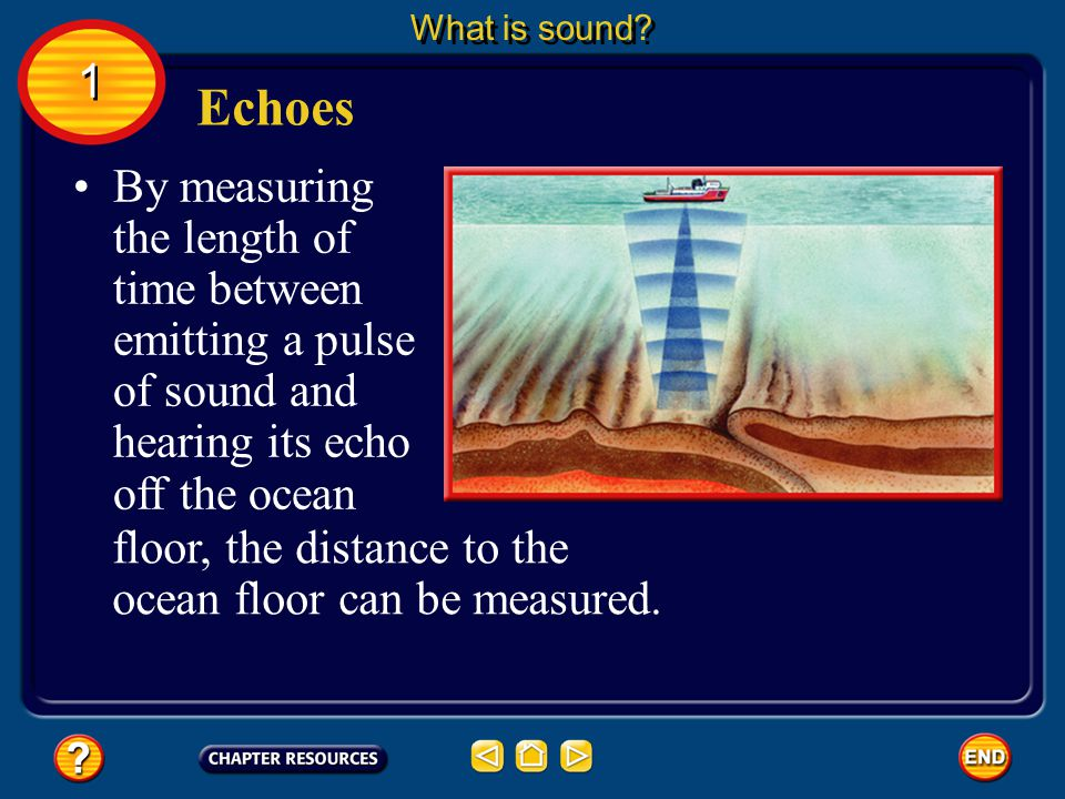 What is sound 1. Echoes. By measuring the length of time between emitting a pulse of sound and hearing its echo off the ocean.