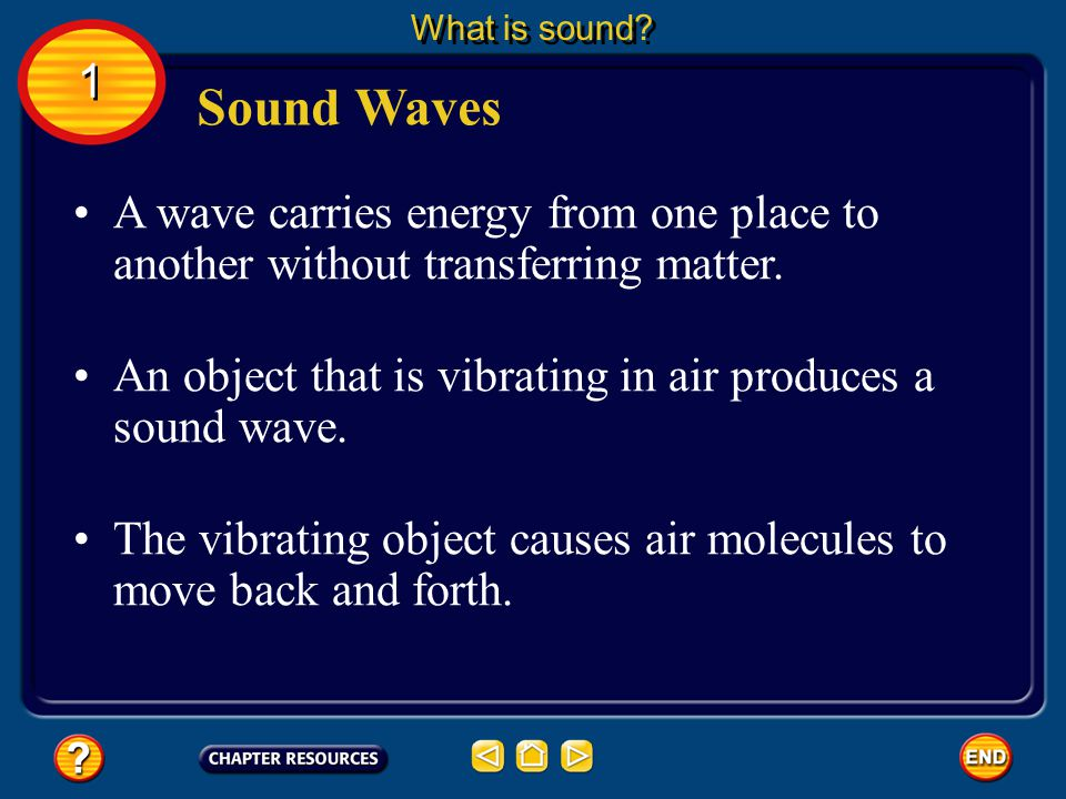 What is sound 1. Sound Waves. A wave carries energy from one place to another without transferring matter.
