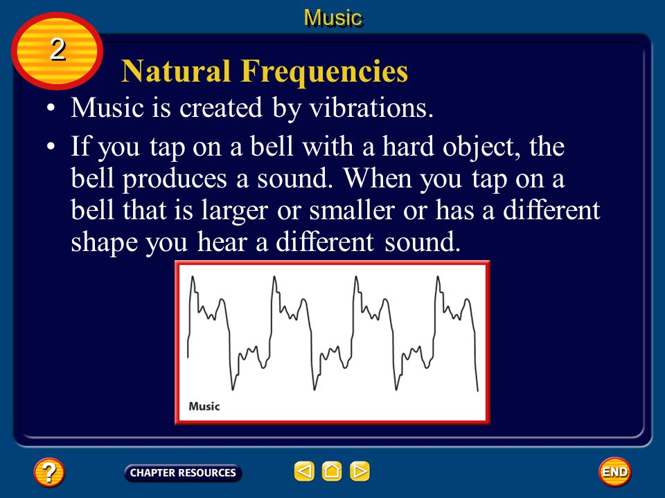 Natural Frequencies 2 Music is created by vibrations.