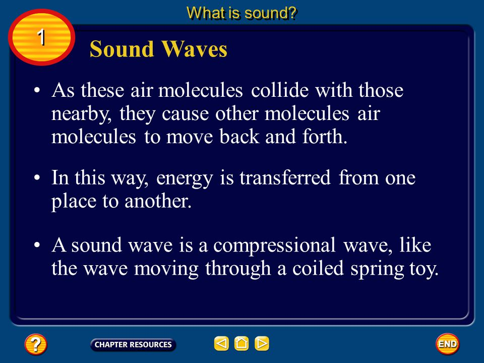 What is sound 1. Sound Waves. As these air molecules collide with those nearby, they cause other molecules air molecules to move back and forth.