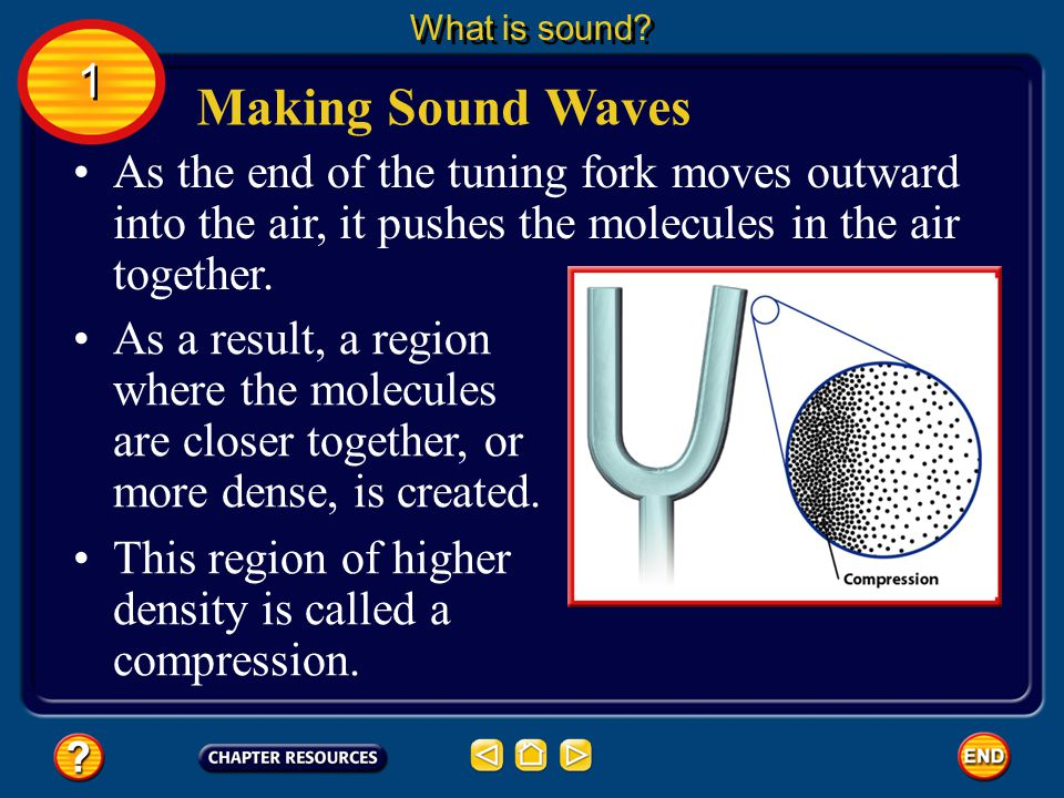 What is sound 1. Making Sound Waves. As the end of the tuning fork moves outward into the air, it pushes the molecules in the air together.