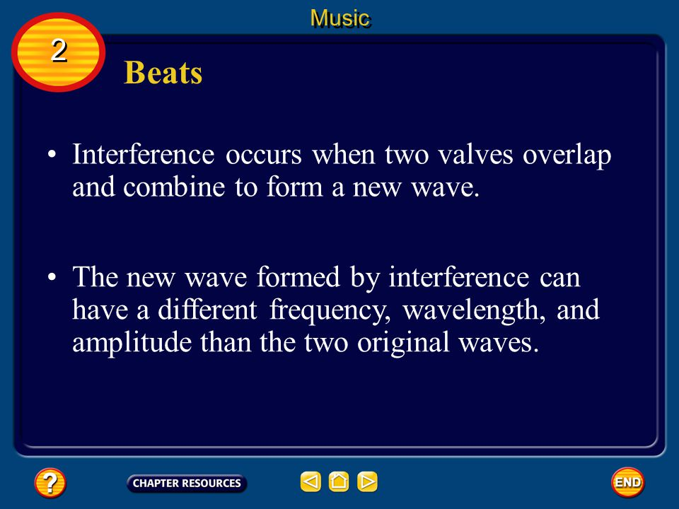 Music 2. Beats. Interference occurs when two valves overlap and combine to form a new wave.