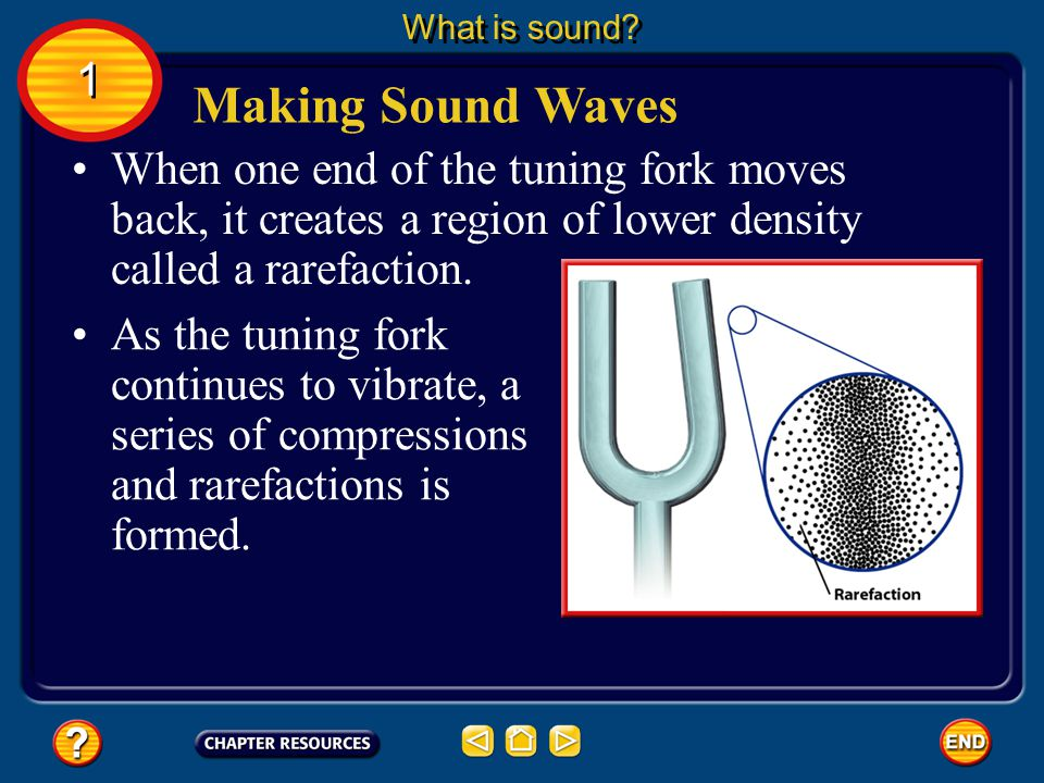 What is sound 1. Making Sound Waves. When one end of the tuning fork moves back, it creates a region of lower density called a rarefaction.