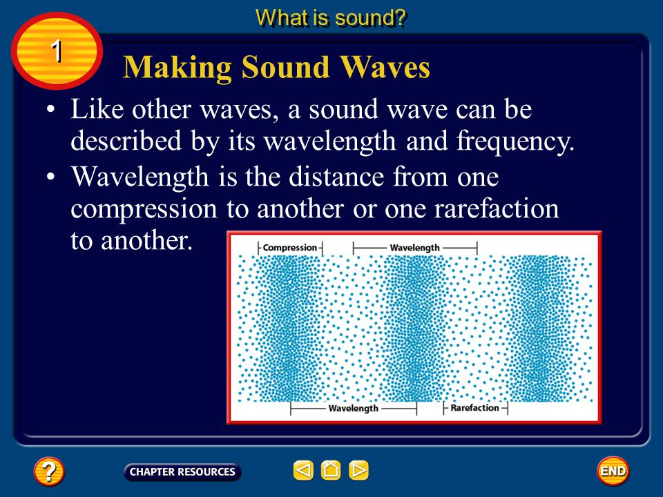 What is sound 1. Making Sound Waves. Like other waves, a sound wave can be described by its wavelength and frequency.