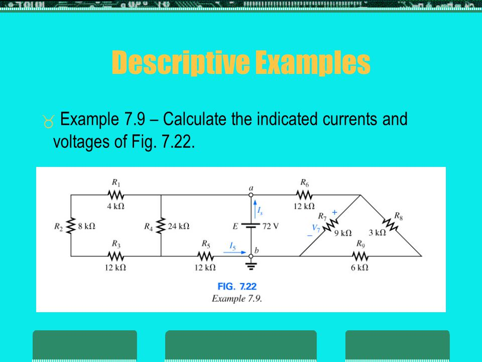 Descriptive Examples Example 7.9 – Calculate the indicated currents and voltages of Fig. 7.22. Insert Fig. 7.22.