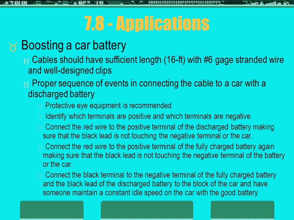 7.8 - Applications Boosting a car battery