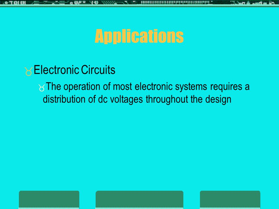 Applications Electronic Circuits