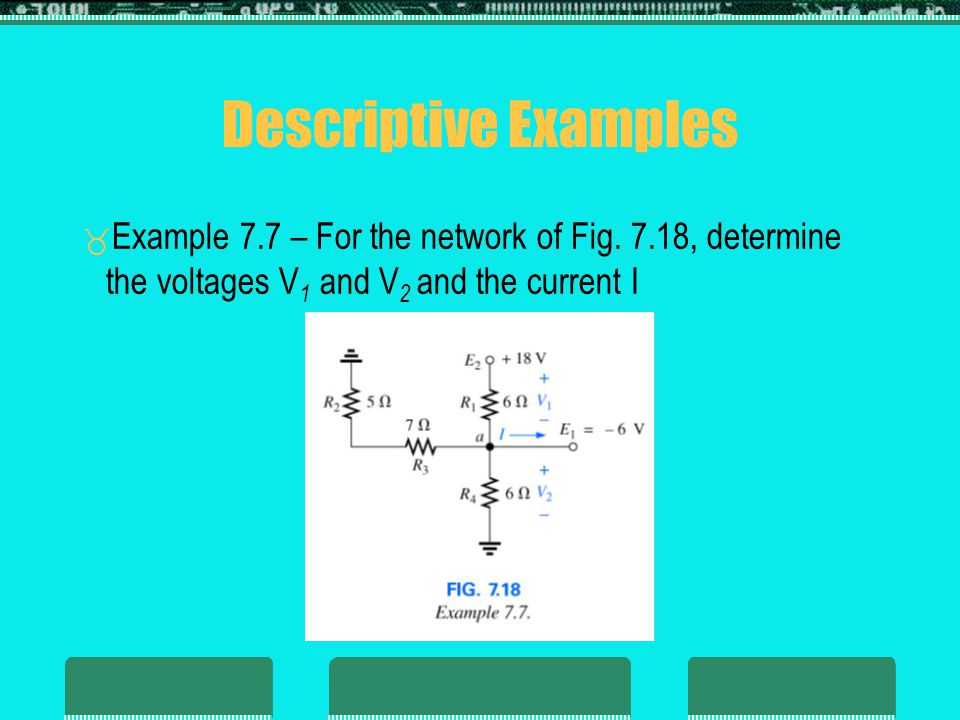 Descriptive Examples Example 7.7 – For the network of Fig. 7.18, determine the voltages V1 and V2 and the current I.
