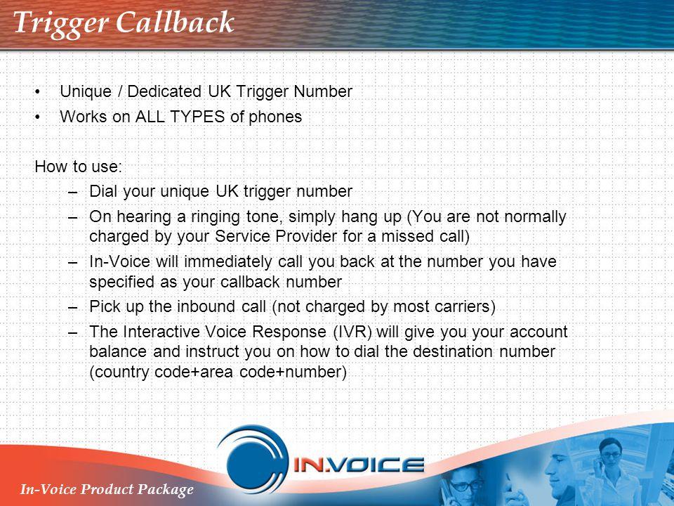 Trigger Callback Unique / Dedicated UK Trigger Number