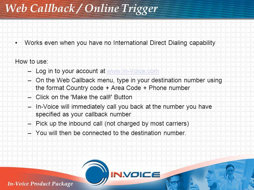 Web Callback / Online Trigger
