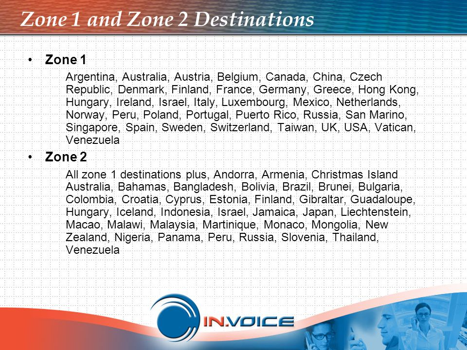 Zone 1 and Zone 2 Destinations