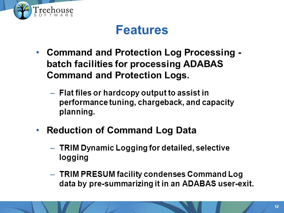 Features Command and Protection Log Processing - batch facilities for processing ADABAS Command and Protection Logs.